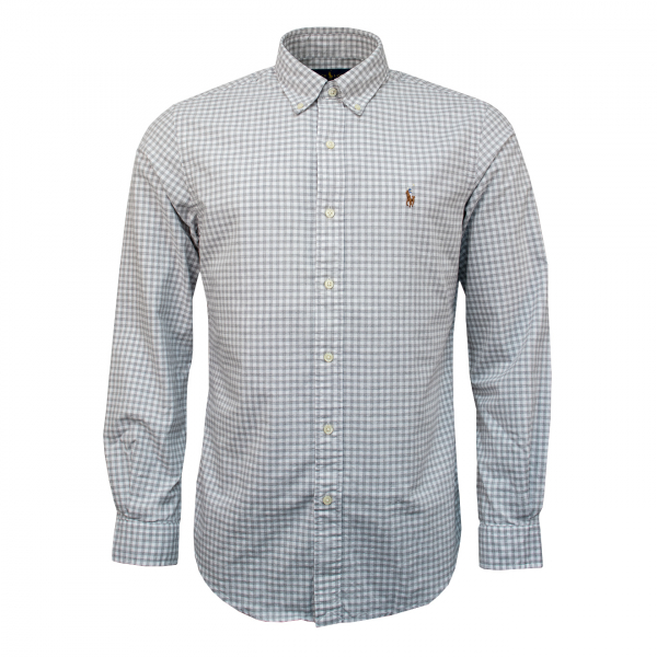 Polo Ralph Lauren Classic Fit Oxford Check Shirt Grey / White
