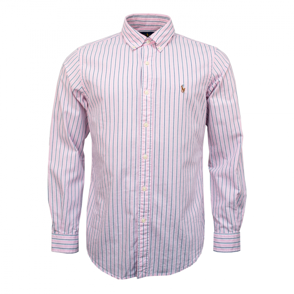 Polo Ralph Lauren Classic Fit Oxford Stripe Shirt Pink / Grey