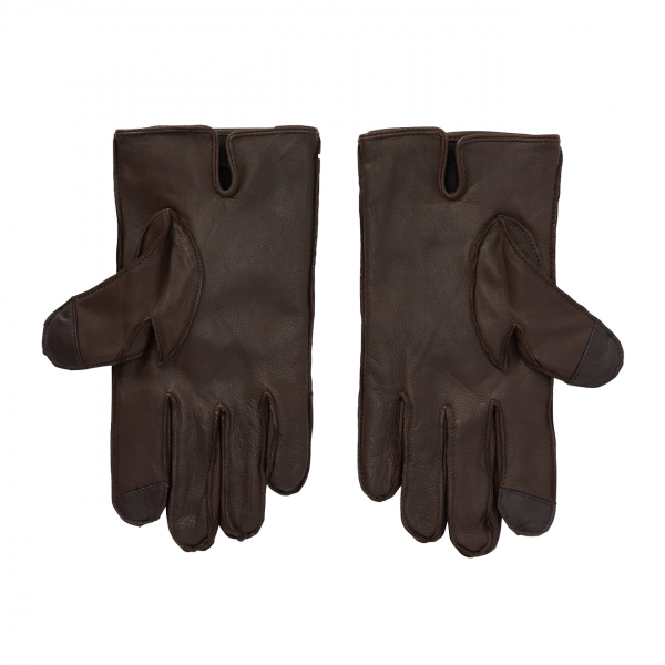 Polo Ralph Lauren Nappa Leather Sheepskin Touch Gloves Brown