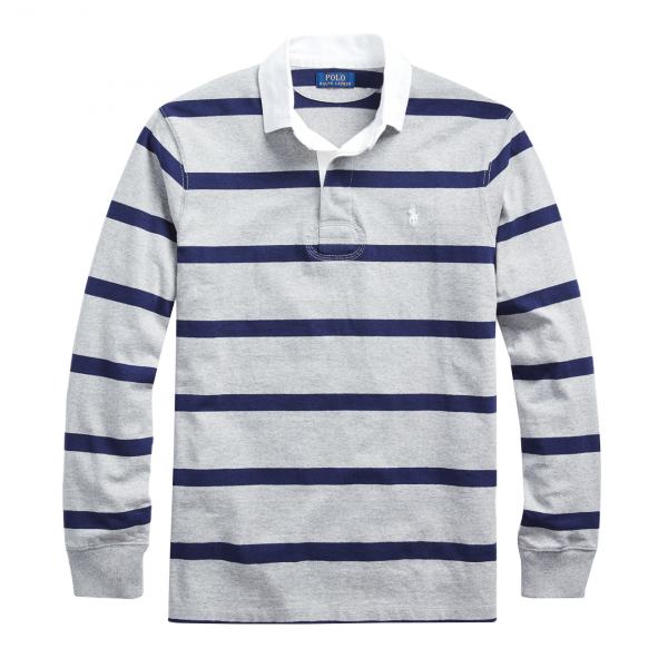 Polo Ralph Lauren Striped Rugby Shirt Classic Fit Grey / Navy