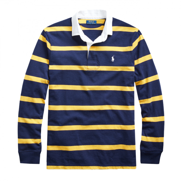 Polo Ralph Lauren Striped Rugby Shirt Classic Fit Navy / Gold