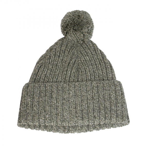 Sunspel Bobble Hat Khaki Grey / Argent Mouline