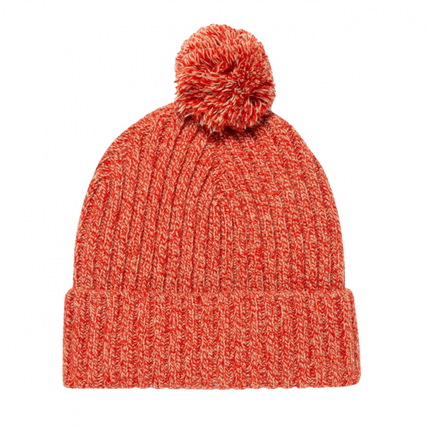 Sunspel Bobble Hat Persimmon / Argent Mouline