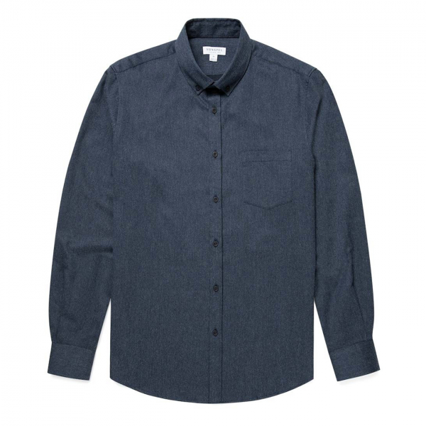 Sunspel Brushed Flannel Button Down Shirt Navy Melange
