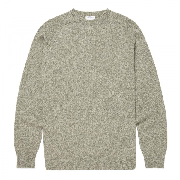 Sunspel Lambswool Crew Neck Knit Khaki Grey / Argent Mouline