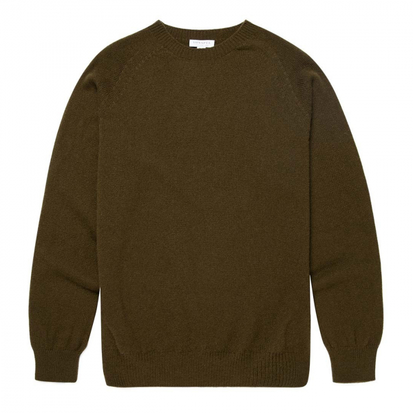 Sunspel Lambswool Crew Neck Knit Military Green