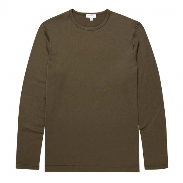 Sunspel Long Sleeve Classic Crew Neck T-Shirt Military Green