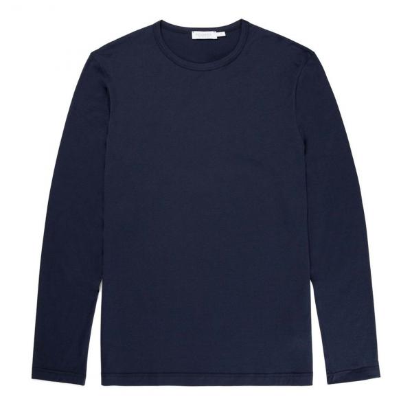 Sunspel Long Sleeve Crew Neck T-Shirt Navy