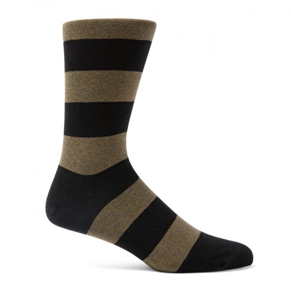 Sunspel Stripe Cotton Sock Green / Black