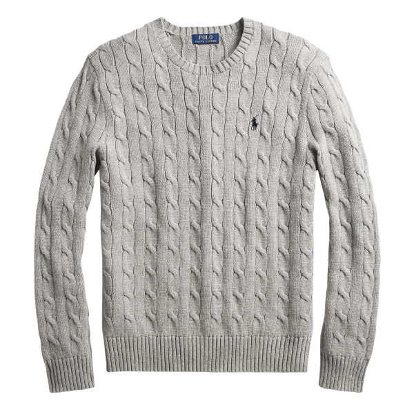 Polo Ralph Lauren Cotton Cable Knit Sweater Grey Heather