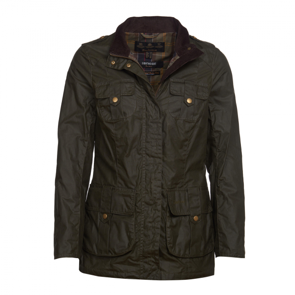 Barbour Womens Defence Lightweight Wax Jacket Archive Olive