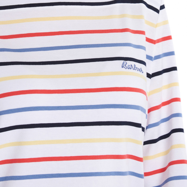 Barbour Womens Seaview Top White on Multicoloured Stripes