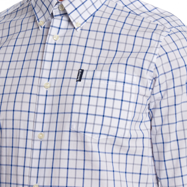 Barbour Tattersall 13 Tailored Check Shirt Mid Blue