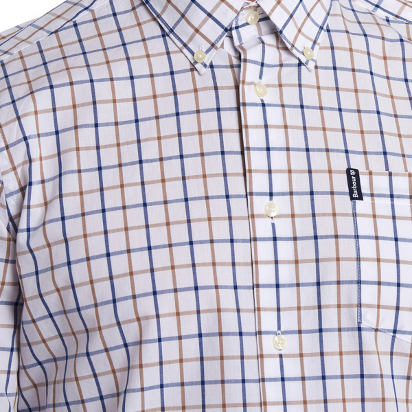 Barbour Tattersall 13 Tailored Check Shirt Sandstone Button Down Collar & Barbour Label