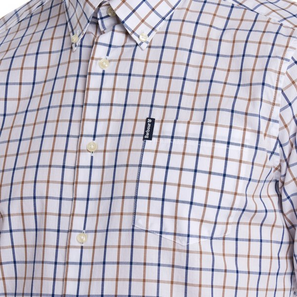 Barbour Tattersall 13 Tailored Check Shirt Sandstone With Pointed Pocket