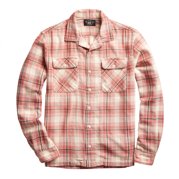 RRL by Ralph Lauren Carter Plaid Twill Camp Shirt Red Multi