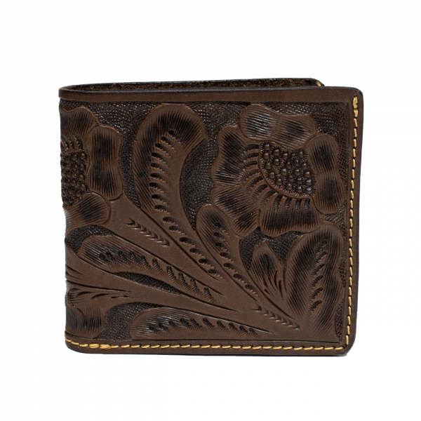 RRL by Ralph Lauren Hand Tooled Leather Billfold Wallet Brown
