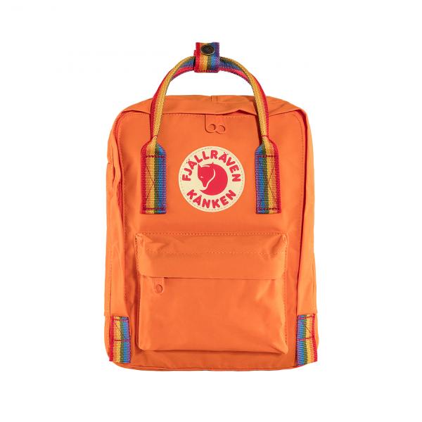 Fjallraven Kanken Mini Backpack Burnt Orange Rainbow Pattern