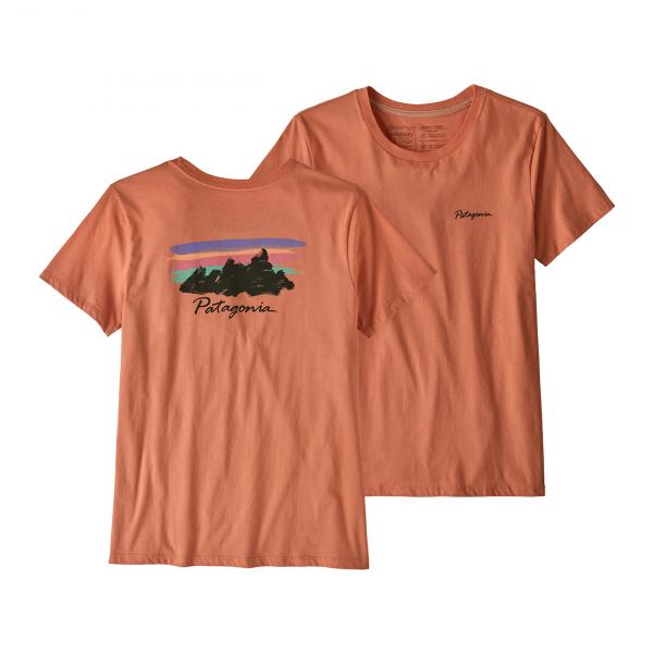 Patagonia Womens Free Hand Fitz Roy Organic Crew T-Shirt Mellow Melon