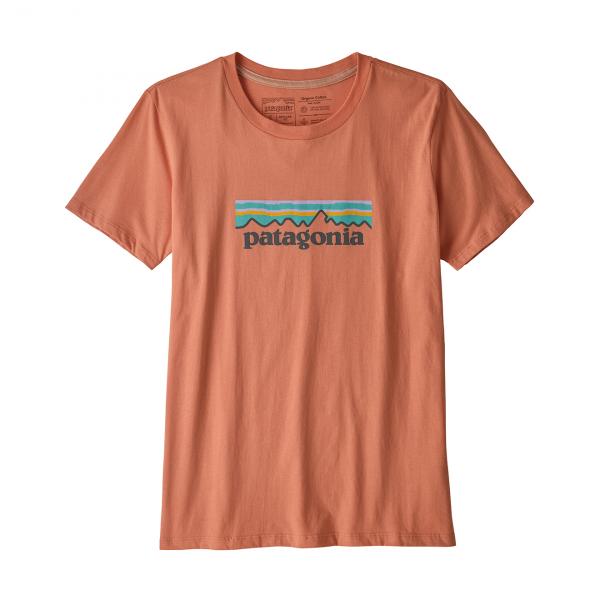 Patagonia Womens Pastel P-6 Logo Organic Crew T-Shirt Mellow Melon