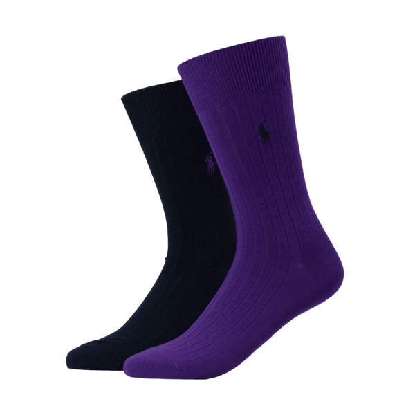Polo Ralph Lauren 2 Pack Egyptian Cotton Rib Sock Navy / Purple
