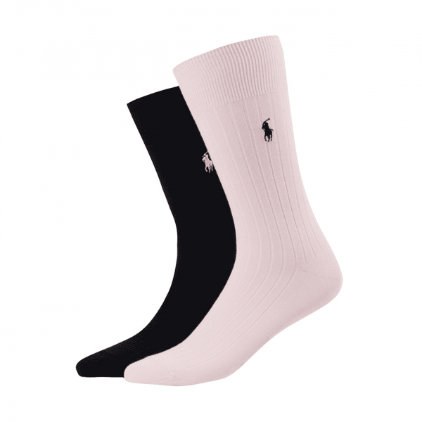 Polo Ralph Lauren 2 Pack Egyptian Cotton Rib Sock Pink / Black
