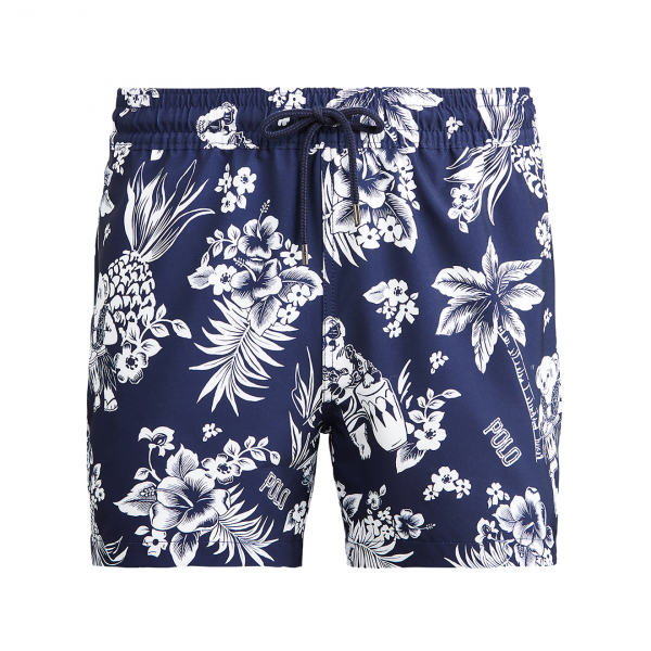 "Polo Ralph Lauren 5"" Slim Fit Traveler Swim Short Navy Bear-Waiian"