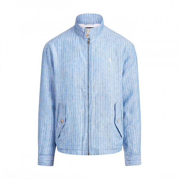 Polo Ralph Lauren Baracuda Striped Linen Jacket Capri Blue / White
