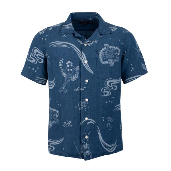 Polo Ralph Lauren Classic Fit Linen Print SS Shirt Navy Multi