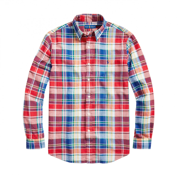 Polo Ralph Lauren Custom Fit Linen Check Shirt Red / Blue