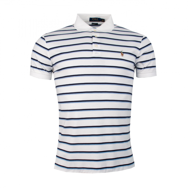 Polo Ralph Lauren Custom Fit Pima Stripe Polo White
