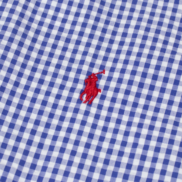 Polo Ralph Lauren Custom Fit Seersucker SS Shirt Blue Gingham Check