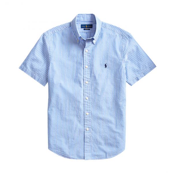 Polo Ralph Lauren Custom Fit Seersucker SS Shirt Blue Stripe