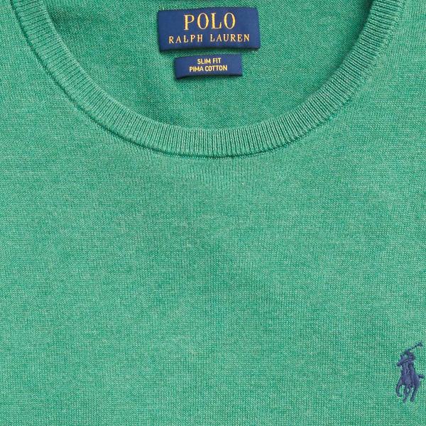 Polo Ralph Lauren Slim Fit Pima Cotton Jumper Potomac Green Heather