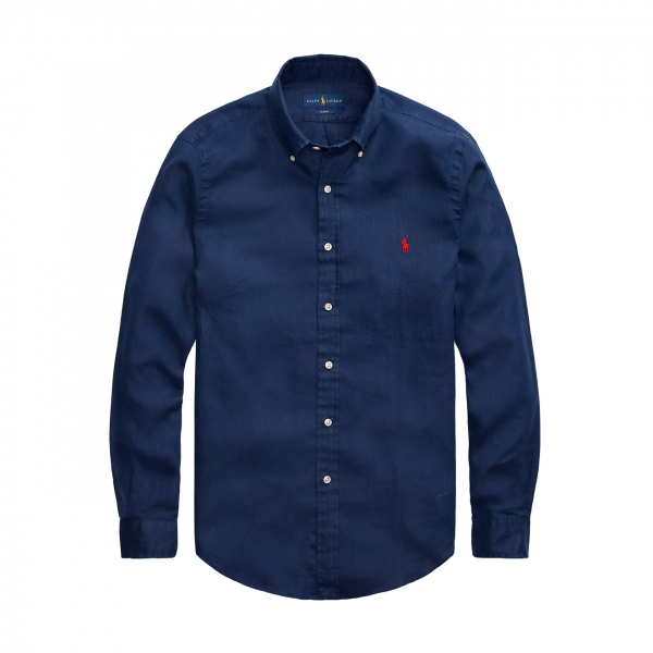 Polo Ralph Lauren Slim Fit S/S Linen Shirt Navy