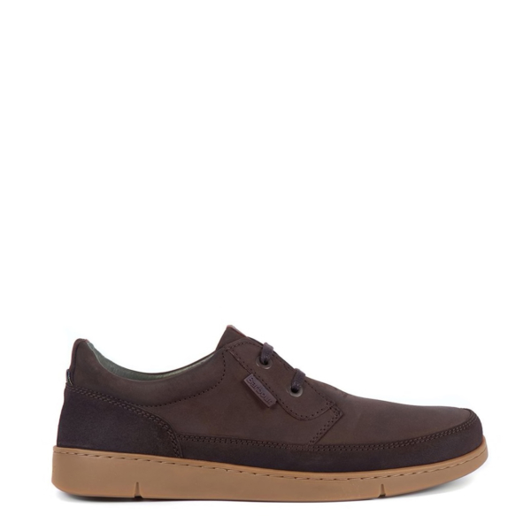 Barbour Glider Shoe Brown Nubuck Side View With Silicone Brand Label