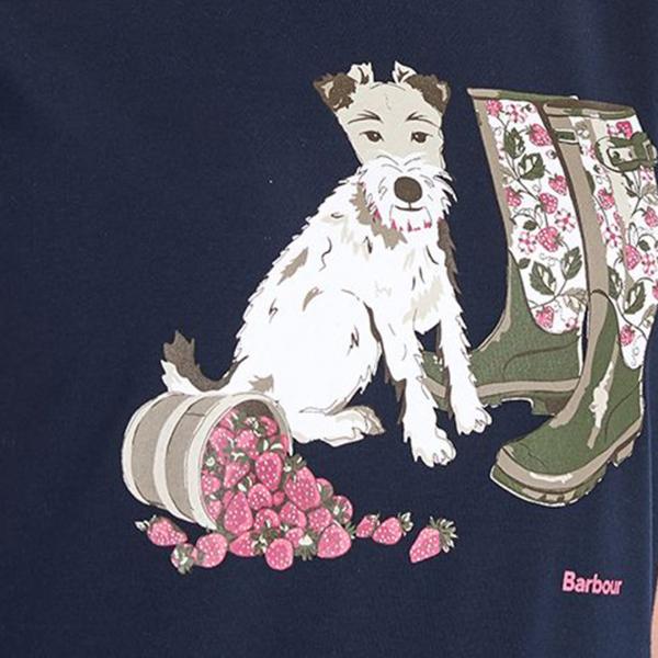 Barbour Womens Maya T-Shirt Navy / Pale Pink