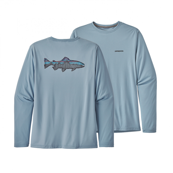 Patagonia Long-Sleeved Cap Cool Daily Fish Graphic Shirt Sketched Fitz Roy Trout/Berlin Blue