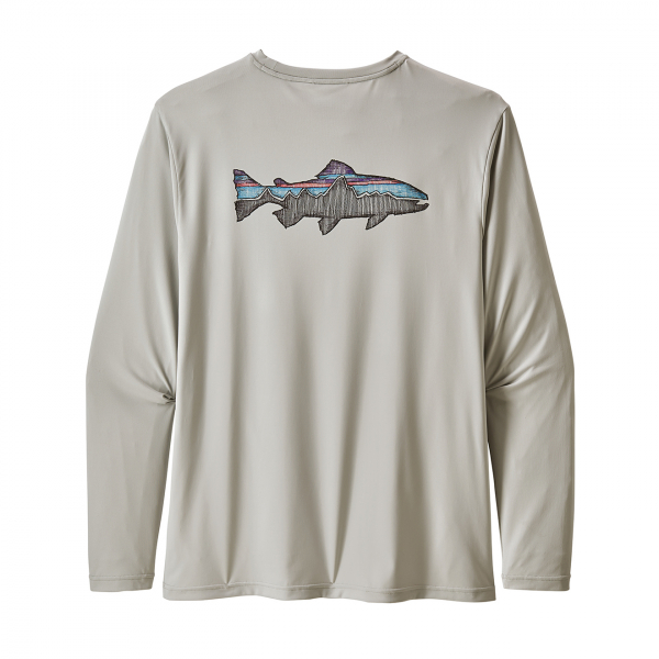 Patagonia Long Sleeved Cap Cool Daily Fish Graphic Shirt Sketched Fitz Roy Trout/Tailored Grey