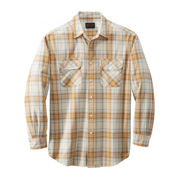 Pendleton LS Beach Shack Shirt Ivory Aqua Orange Plaid
