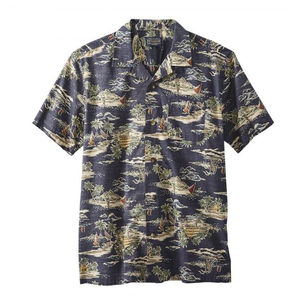 Pendleton Short Sleeve Aloha Printed Shirt Navy Tropical Village Print