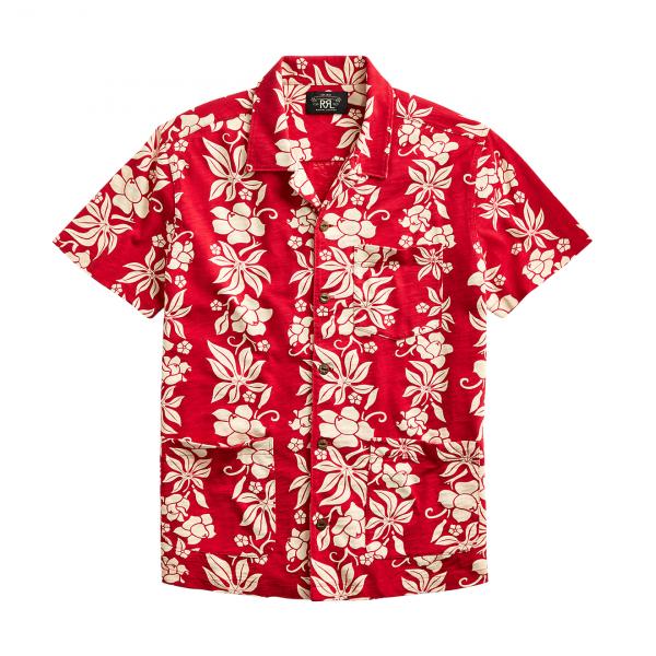 RRL by Ralph Lauren Jersey Hawaiian Camp Shirt Bermuda Red
