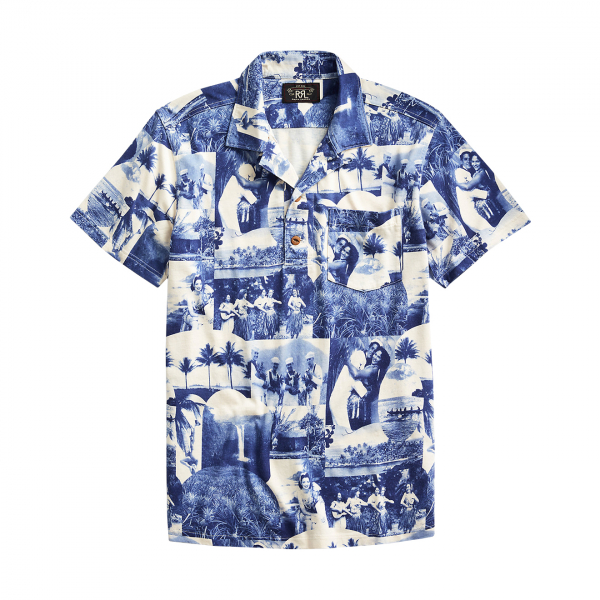 RRL by Ralph Lauren Photo Print Jersey Camp Shirt Blue / Cream