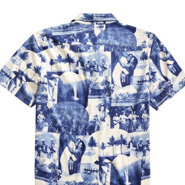 RRL by Ralph Lauren Photo Print Jersey Camp Shirt Blue / Cream