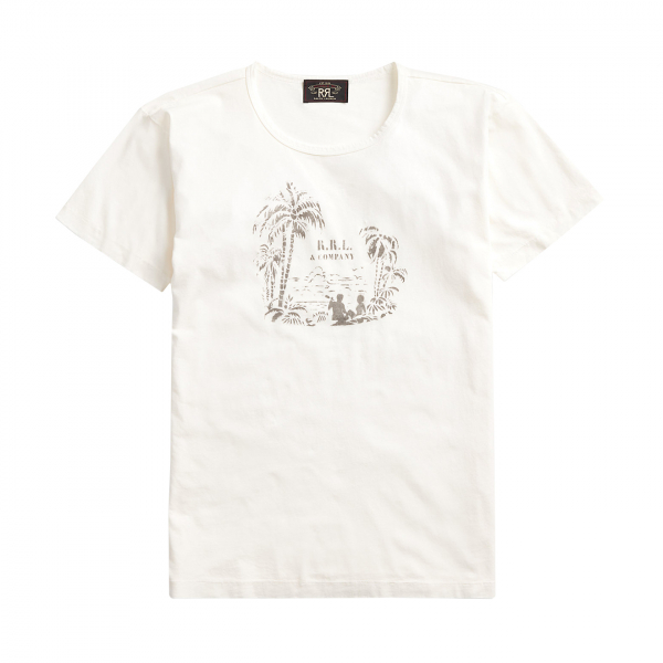 RRL by Ralph Lauren Tropical Print Jersey T-Shirt Aloha White