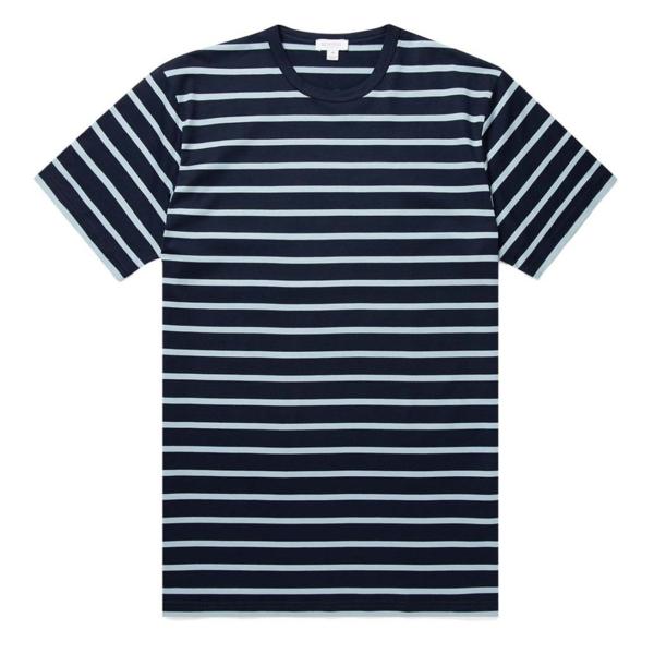 Sunspel Classic Crew T-Shirt Navy / Blue Jeans Breton Stripe