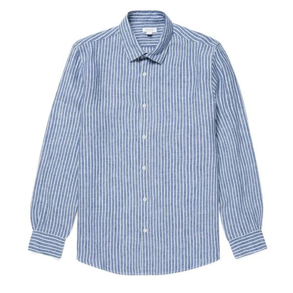 Sunspel Linen Shirt Wide Blue Stripe