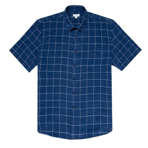 Sunspel SS Linen Shirt Blue Check