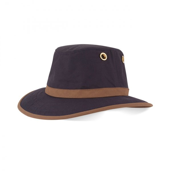 Tilley Outback Waxed Cotton Hat Navy / Tan