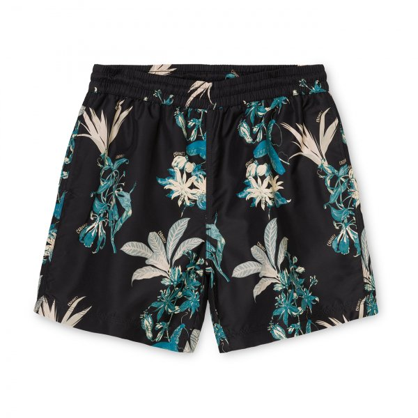 Carhartt Drift Swim Trunks Hawaiian Floral Print Black